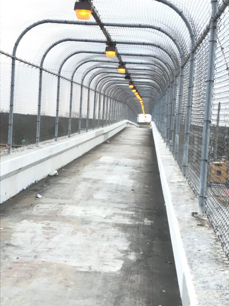 Inside ped/bike bridge